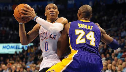 Kobe Bryant finished with 30 points but was entirely outplayed by Russell Westbrook (Mark D. Smith-USA TODAY Sports)
