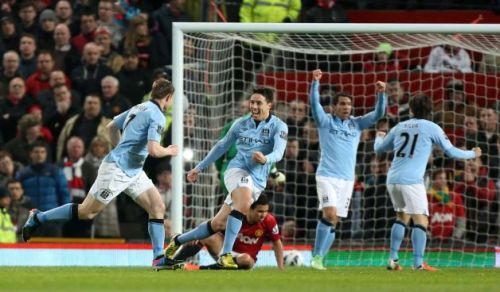 Manchester City rejoices after breaking a scoreless tie this afternoon. Photo: Jon Super